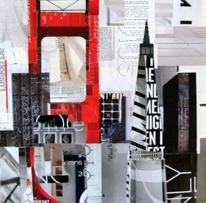 The Bridge #15_20x20_Torn paper collage on canvas